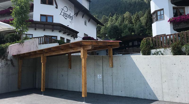 NEU! Carport für Motorradfahrer Hotel Linserhof Imst